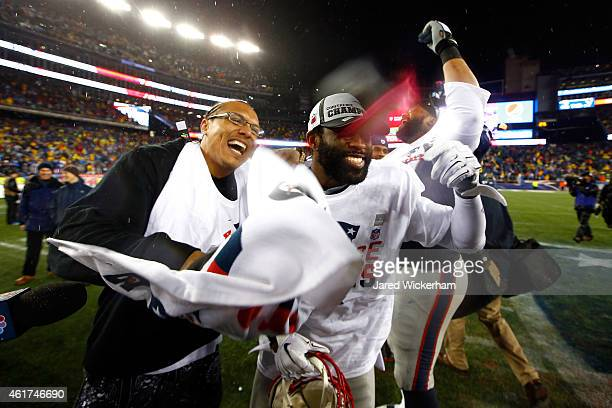 Darrelle Revis of the New England Patriots celebrates after defeating the Indianapolis Colts in the 2015 AFC Championship Game at Gillette Stadium on...
