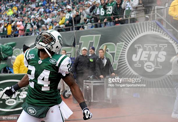 Darrelle Revis of the New York Jets reacts after being introduced to the crowd against the Buffalo Bills at Giants Stadium on October 18 2009 in East...