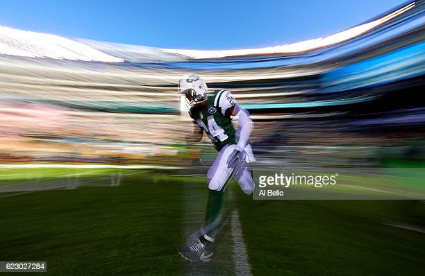 Darrelle Revis of the New York Jets takes the field before the game against the Los Angeles Rams at MetLife Stadium on November 13, 2016 in East...