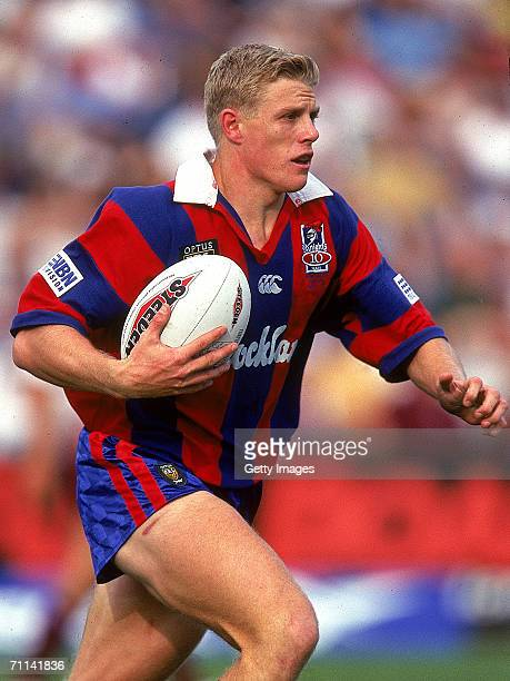 Darren Albert of the Knights in action during the ARL match between the Newcastle Knights and the Manly Sea Eagles at Brookvale Oval 1997, in Sydney,...