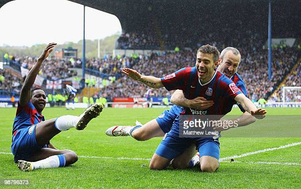Darren Ambrose of Crystal Palace celebrates his goal with Shaun Derry during the Coca-Cola Championship match between Sheffield Wednesday and Crystal...
