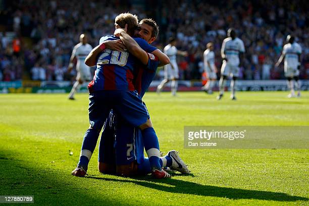 Darren Ambrose of Crystal Palace celebrates with team mate Jonathan Williams after scoring the opening goal during the npower Championship match...