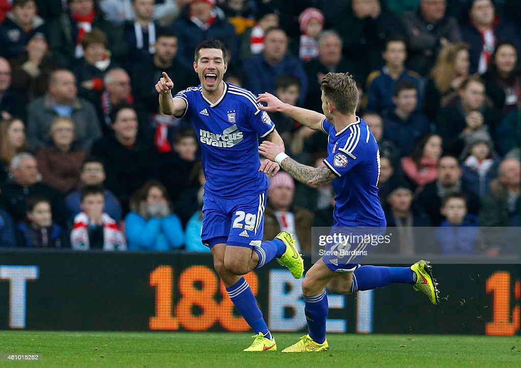 Darren Ambrose of Ipswich #29 (L) celebrates with teammate Luke Hyam of Ipswich after scoring the opening goal during the FA Cup Third Round match between Southampton and Ipswich Town at St Mary's Stadium on January 4, 2015 in Southampton, England.