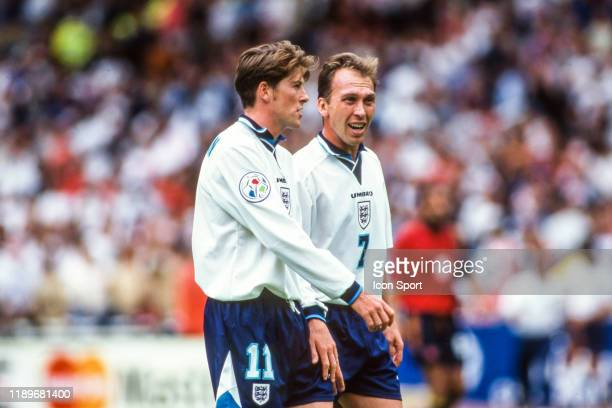 Darren Anderton and David Platt of England during the Quarter Final of European Championship match between Spain and England at Wembley Stadium...