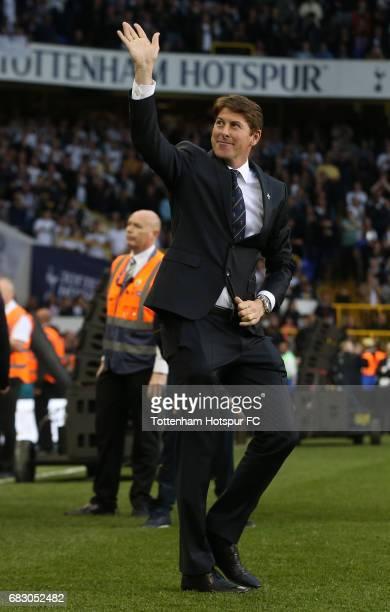 Darren Anderton ex Tottenham Hotspur player walks onto the pitch during the closing ceremony after the Premier League match between Tottenham Hotspur...