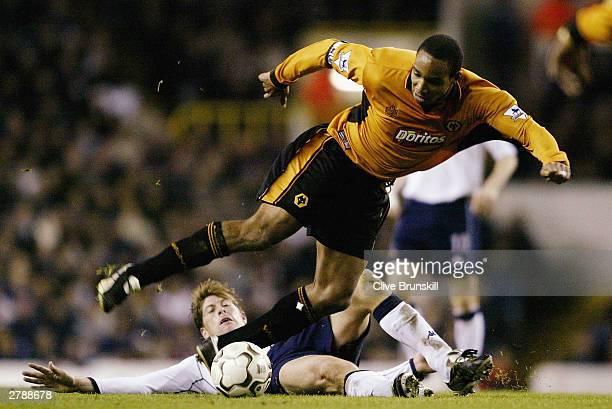 Darren Anderton of Tottenham Hotspur challenges Paul Ince of Wolverhampton Wanderers during the FA Barclaycard Premiership match between Tottenham...