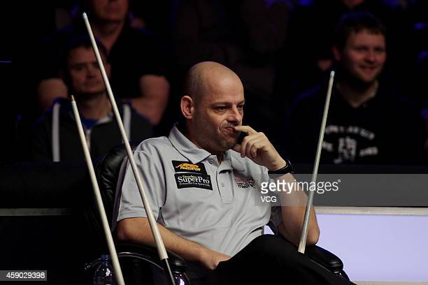 Darren Appleton of Great Britain reacts against Alex Pagulayan of Canada on day one of the Partypoker World Pool Masters 2014 at Portland Centre on...