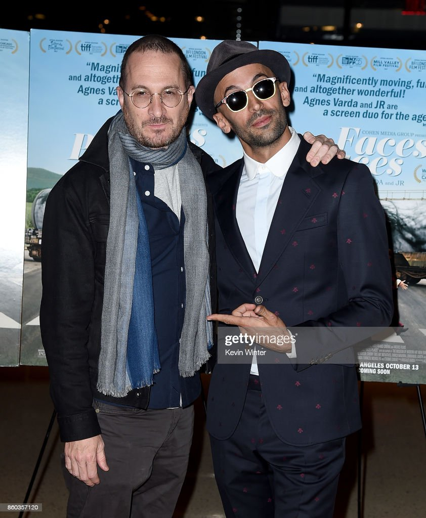 Darren Aronofsky (L) and JR attend the premiere of Cohen Media Group's 'Faces Places' at Pacific Design Center on October 11, 2017 in West Hollywood, California.