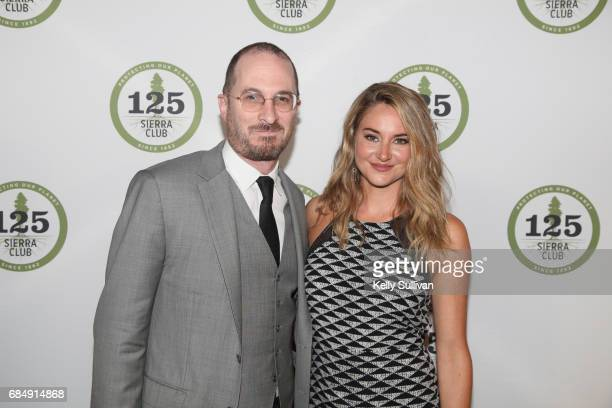 Darren Aronofsky and Shailene Woodley pose for a photograph during the Sierra Club's 125th Anniversary Trail Blazer's Ball at Innovation Hangar on...