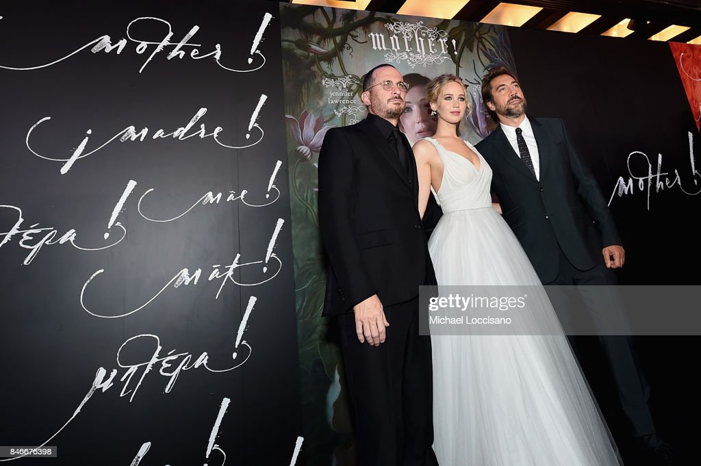Darren Aronofsky, Jennifer Lawrence, and Javier Bardem attend the New York premiere of 'mother!' at Radio City Music Hall on September 13, 2017 in New York, New York.