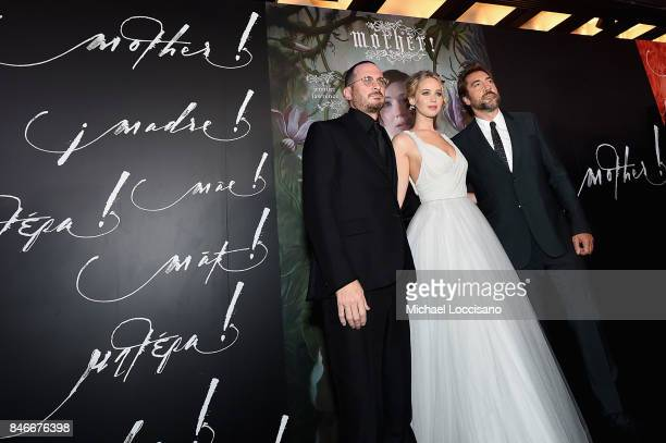 Darren Aronofsky Jennifer Lawrence and Javier Bardem attend the New York premiere of 'mother' at Radio City Music Hall onSeptember 13 2017 in New...