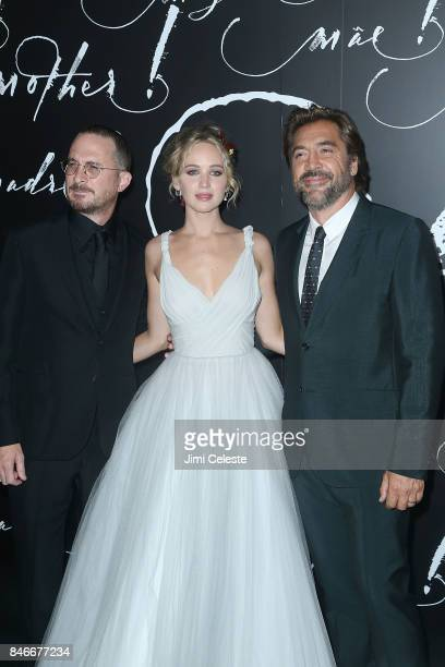 Darren Aronofsky Jennifer Lawrence and Javier Bardem attend The New York premeire of 'mother' at Radio City Music Hall on September 13 2017 in New...