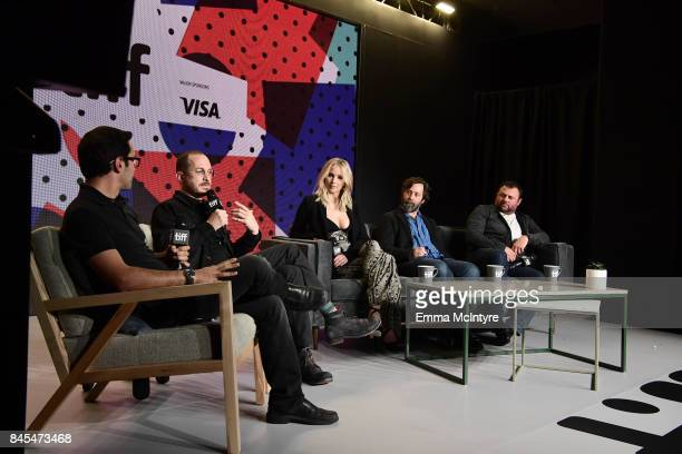 Darren Aronofsky Jennifer Lawrence Ari Handel and Scott Franklin at the 'mother' press conference during the 2017 Toronto International Film Festival...