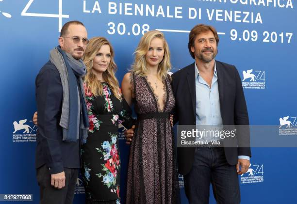 Darren Aronofsky Michelle Pfeiffer Jennifer Lawrence and Javier Bardem attend the 'mother' photocall during the 74th Venice Film Festival on...