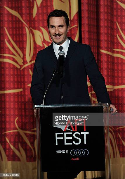 Darren Aronofsky speaks on stage at the 'Black Swan' closing night gala during AFI FEST 2010 presented by Audi held at Grauman's Chinese Theatre on...
