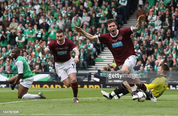 Darren Barr of Hearts celebrates scoring a goal during the William Hill Scottish Cup Final between Hibernian and Hearts at Hampden Park on May 19...