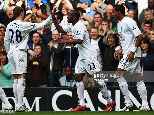 Darren Bent and Alan Hutton of Tottenham celebrates Bent's opening goal during the Barclays Premier League match between Tottenham Hotspur and...