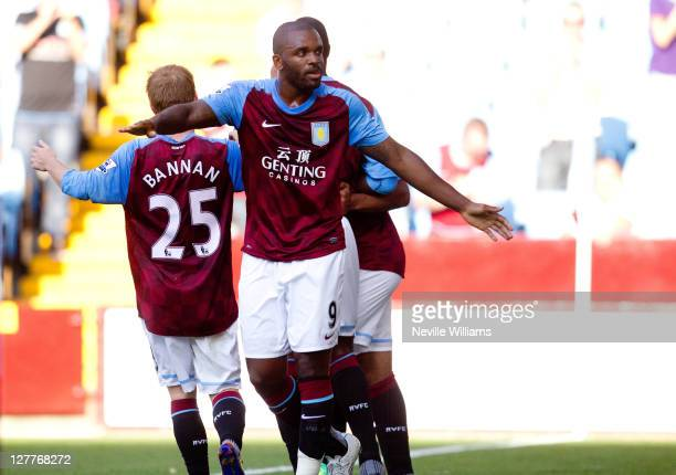 Darren Bent of Aston Villa celebrates his goal during the Barclays Premier League match between Aston Villa and Wigan Athletic at Villa Park on...