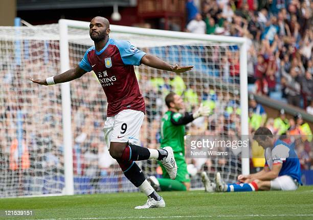 Darren Bent of Aston Villa celebrates his goal for Aston Villa during the Barclays Premier League match between Aston Villa and Blackburn Rovers at...