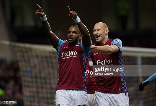Darren Bent of Aston Villa celebrates scoring his debut goal during the Barclays Premier League match between Aston Villa and Manchester City at...