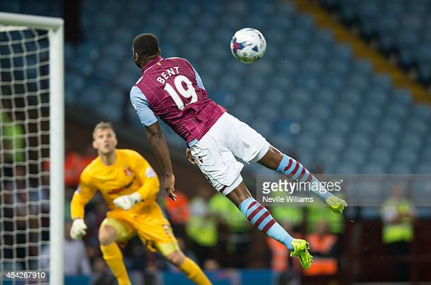 Darren Bent of Aston Villa jumps during the Capital One Cup second round match between Aston Villa and Leyton Orient at Villa Park on August 27 2014...