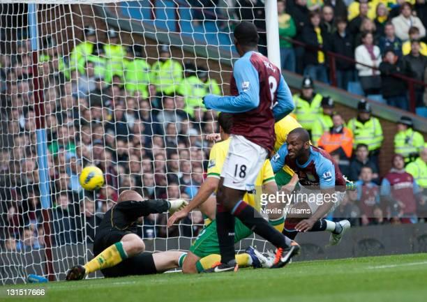 Darren Bent of Aston Villa scores for Aston Villa during the Barclays Premier League match between Aston Villa and Norwich City at Villa Park on...