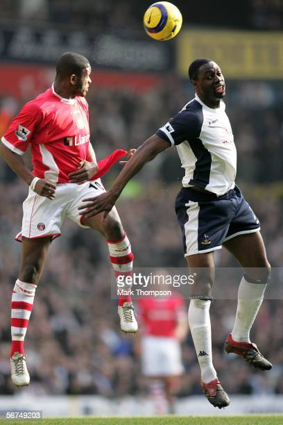 Darren Bent of Charlton Athletic and Ledley King of Tottenham Hotspur jump up for a header during the Barclays Premiership match between Tottenham...
