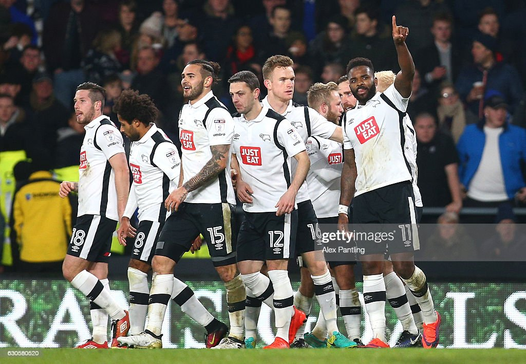 Darren Bent of Derby County celebrates after he scores his sides first goal from the penalty spot during the Sky Bet Championship match between Derby County and Birmingham City at iPro Stadium on December 27, 2016 in Derby, England.