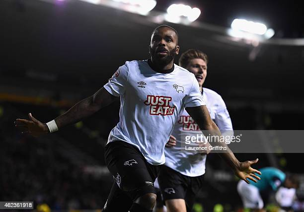 Darren Bent of Derby County celebrates scoring the opening goal during the Sky Bet Championship match between Derby County and Blackburn Rovers at...