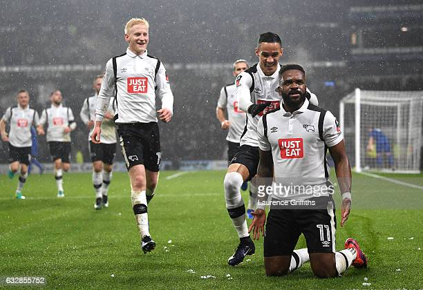 Darren Bent of Derby County celebrates with team mates after scoring his sides first goal during The Emirates FA Cup Fourth Round match between Derby...