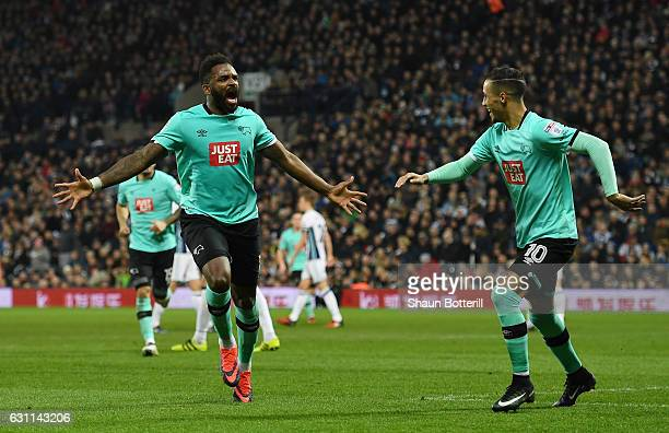 Darren Bent of Derby County celebrates with Thomas Ince of Derby County after scoring his sides first goal during the Emirates FA Cup Third Round...