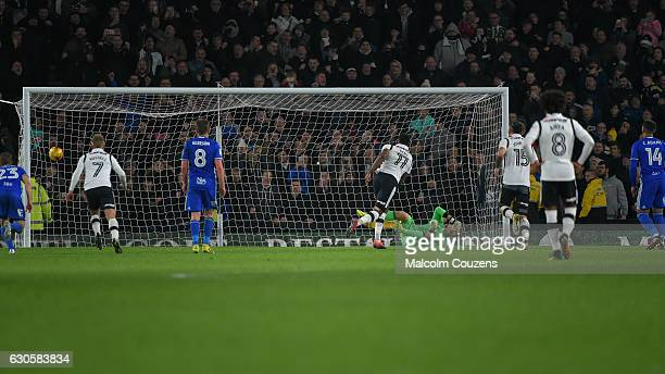 Darren Bent of Derby County converts the winning penalty kick past Tomasz Kuszczak of Birmingham City during the Sky Bet Championship match between...