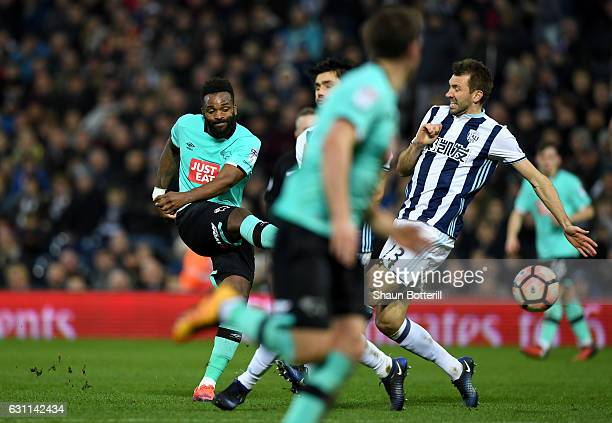 Darren Bent of Derby County scores his sides first goal during the Emirates FA Cup Third Round match between West Bromwich Albion and Derby County at...