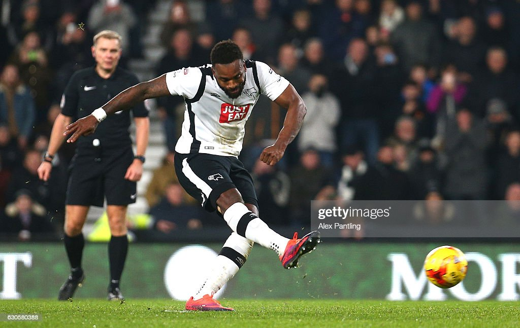 Darren Bent of Derby County scores his sides first goal from the penalty spot during the Sky Bet Championship match between Derby County and Birmingham City at iPro Stadium on December 27, 2016 in Derby, England.
