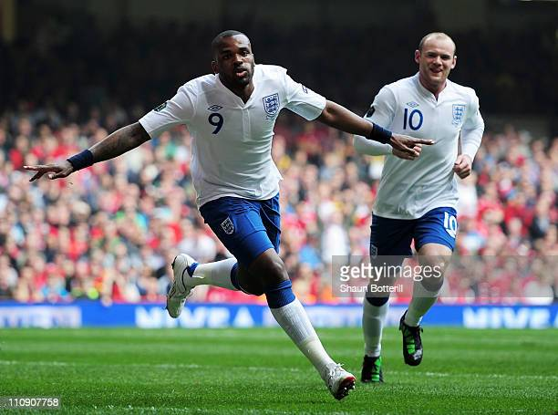 Darren Bent of England celebrates after scoring his team's second goal during the UEFA EURO 2012 Group G qualifying match between Wales and England...