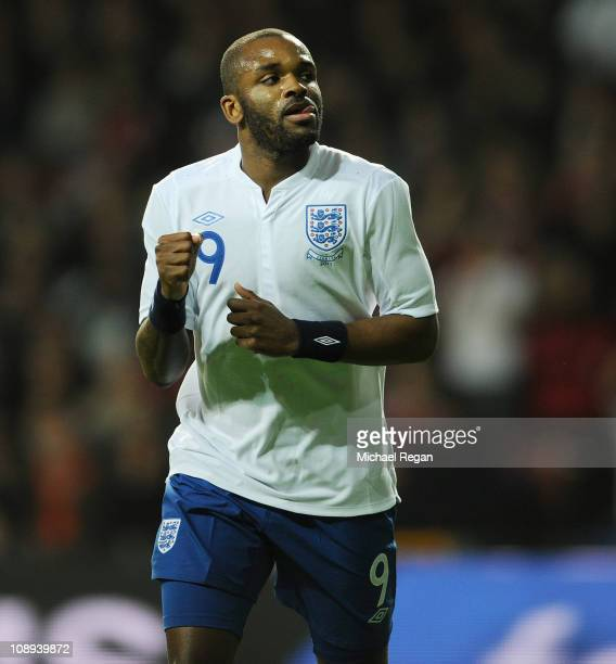 Darren Bent of England celebrates scoring to make it 11 during the international friendly match between Denmark and England at Parken Stadium on...