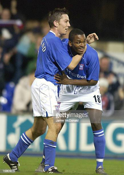 Darren Bent of Ipswich celebrates scoring the opening goal with team mate Matt Holland during the UEFA Cup, second round first leg, match between...