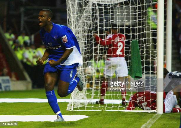 Darren Bent of Ipswich celebrates scoring their first goal during the Coca-Cola Championship match between Nottingham Forest and Ipswich Town at...