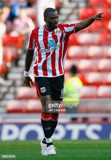 Darren Bent of Sunderland celebrates after scoring during the Barclays Premier League match between Sunderland and Hull City at the Stadium of Light...