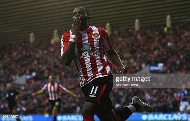 Darren Bent of Sunderland celebrates his goal during the Barclays Premier League match between Sunderland and Everton at the Stadium of Light on...
