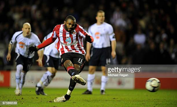 Darren Bent of Sunderland scores a penalty to make it 3-0 during the Barclays Premier League match between Sunderland and Bolton Wanderers at the...