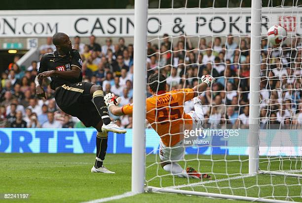 Darren Bent of Tottenham Hotspur scores his 2nd goal during the Pre Season Friendly match between Tottenham Hotspur and AS Roma at White Hart Lane on...