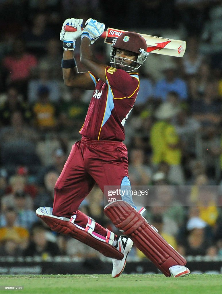 Darren Bravo of the West Indies bats during the one-day international cricket match between Australia and the West Indies at Manuka Oval in Canberra on February 6, 2013
