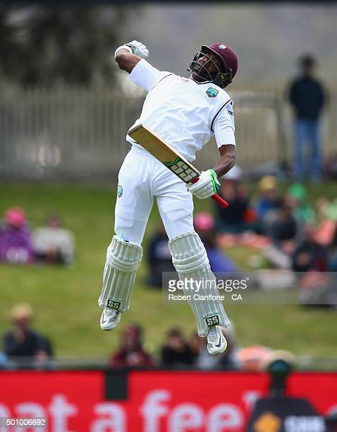 Darren Bravo of the West Indies celebrates after reaching his century during day three of the First Test match between Australia and the West Indies...