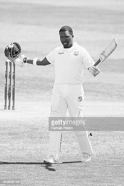 Darren Bravo of the West Indies celebrates scoring a century during day four of the first test match between New Zealand and the West Indies at...