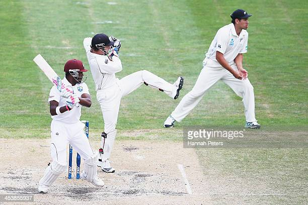 Darren Bravo of the West Indies cuts the ball away for four runs during day four of the first test match between New Zealand and the West Indies at...