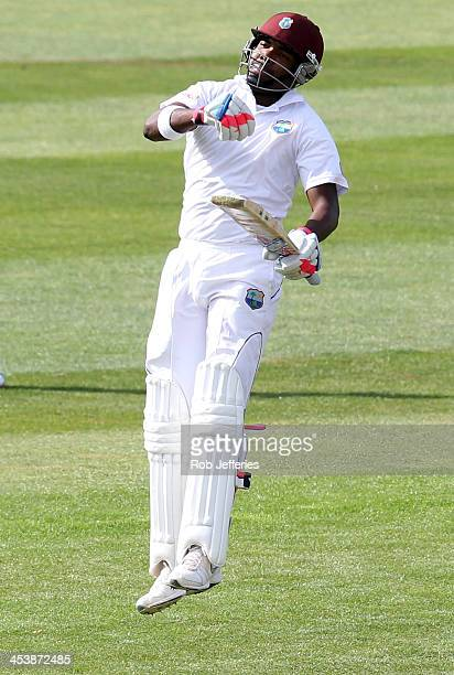Darren Bravo of the West Indies punches the air in delight after scoring 200 runs during day four of the first test match between New Zealand and the...