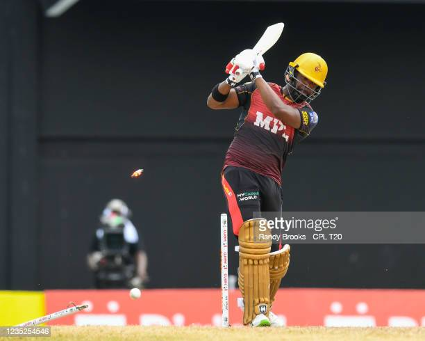 Darren Bravo of Trinbago Knight Riders bowled by Wahab Riaz of Saint Lucia Kings during the 2021 Hero Caribbean Premier League Play-Off match 31...