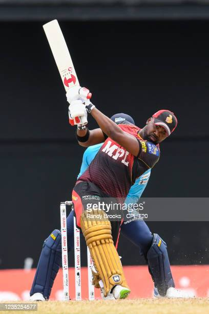 Darren Bravo of Trinbago Knight Riders hits 6 during the 2021 Hero Caribbean Premier League Play-Off match 31 between Saint Lucia Kings and Trinbago...