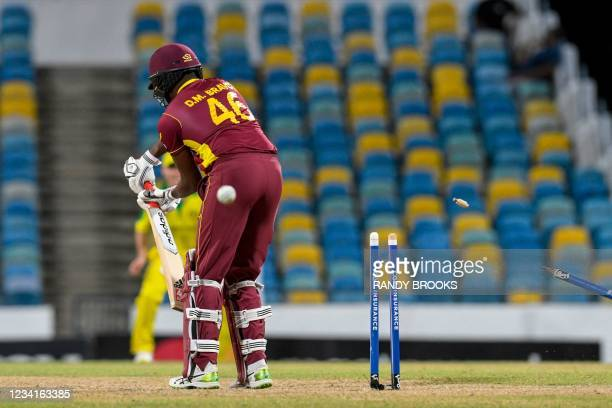 Darren Bravo of West Indies bowled by Mitchell Starc of Australia during the 2nd ODI between West Indies and Australia at Kensington Oval,...